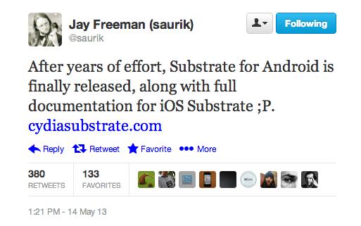 Saurik lanzará Cydia Substrate para Android