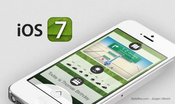 concepto IOS 7 junto al iPhone 5S