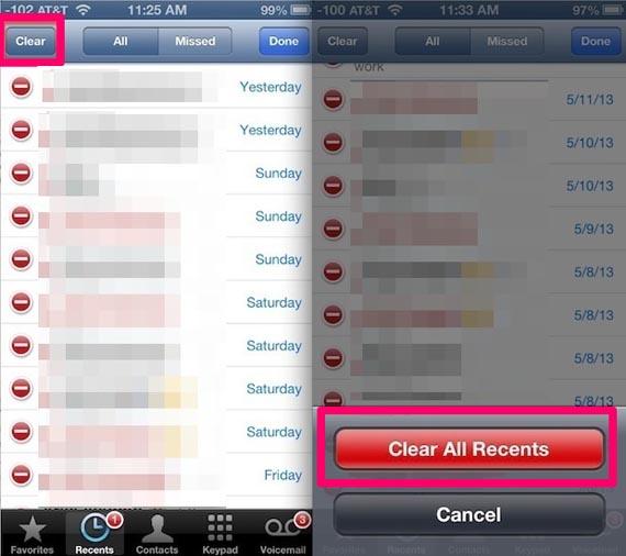 borrar registro de llamadas en el iPhone