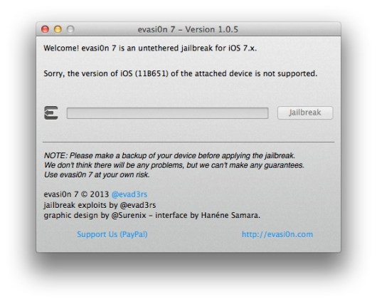 Jailbreak iOS 7.0.6-evasi0n7-1-iosmac