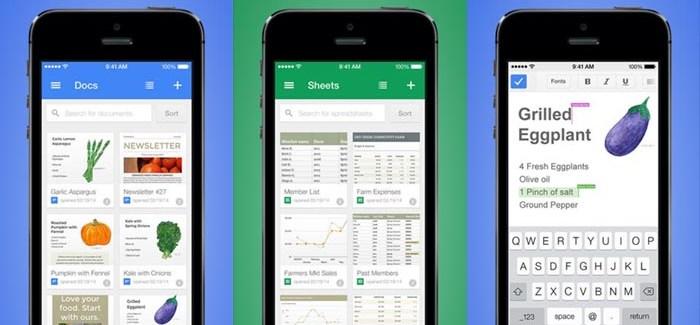 Google Docs y Sheets, las nuevas apps de Google para iOS
