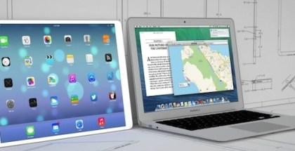 Maqueta de un iPad Pro de 12,9 pulgadas y Macbook Air 13 pulgadas