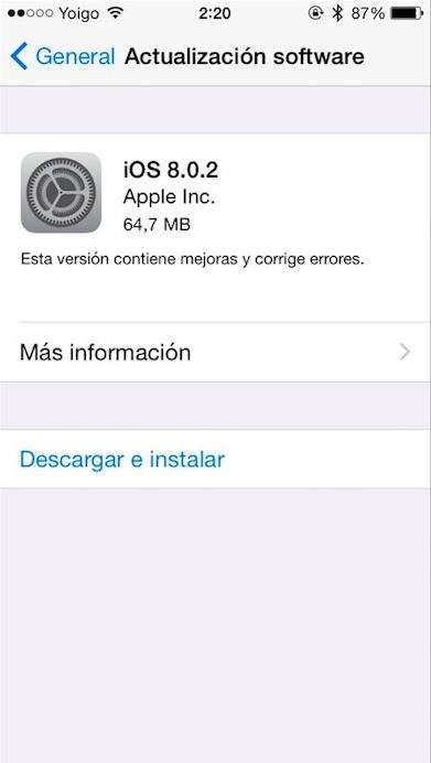 iOS 8.0.2 iPhone 5