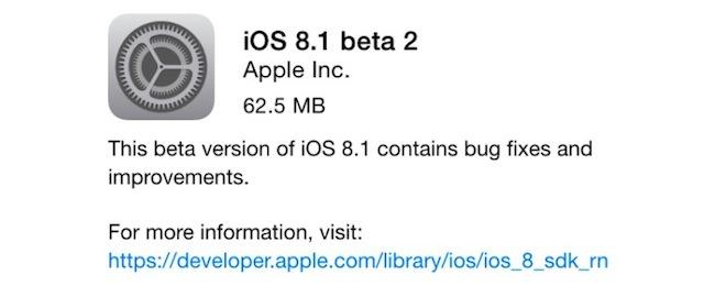 Apple lanza iOS 8.1 beta 2 para desarrolladores