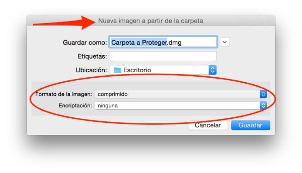 Elige nombre y ubicación del archivo tipo DMG