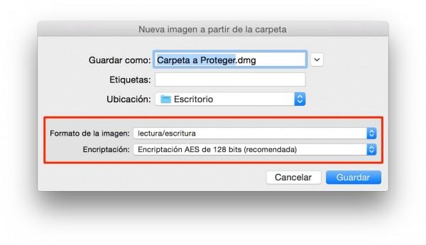 Elige formato y método de encriptación