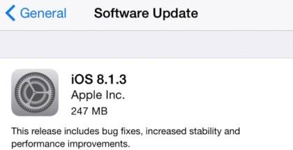iOS 8.1.3 disponible con mejoras y corrección de errores