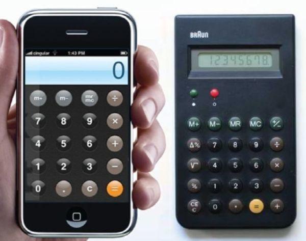 Braun calculadora y la app calculadora de Apple. Apple and Braun Calcs.