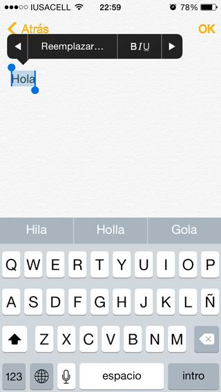 Texto enriquecido iPhone