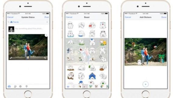 Facebook para iPhone te permite añadir Stickers en tus fotos