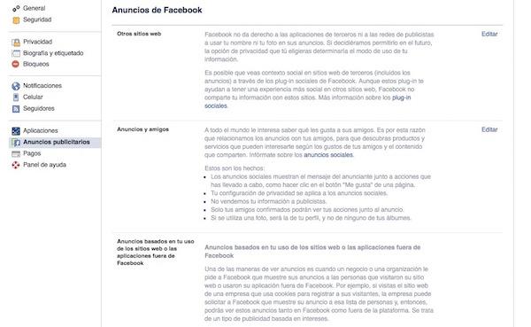politica privacidad facebook