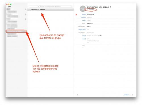 grupos de contactos inteligentes en Mac