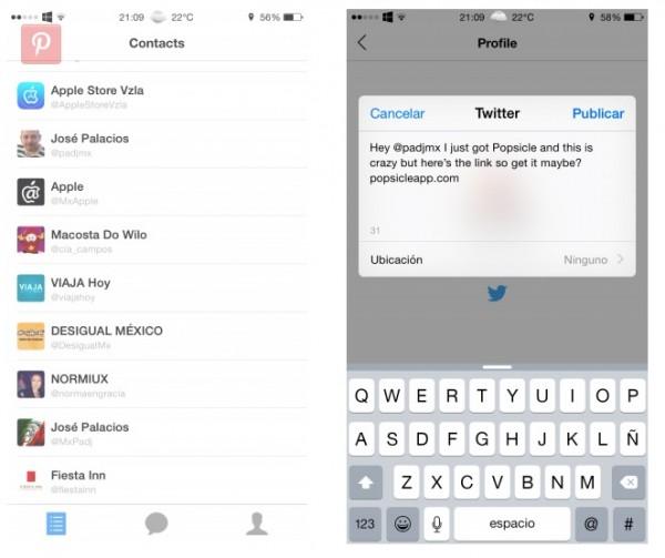Popsicle una forma chatear en Twitter