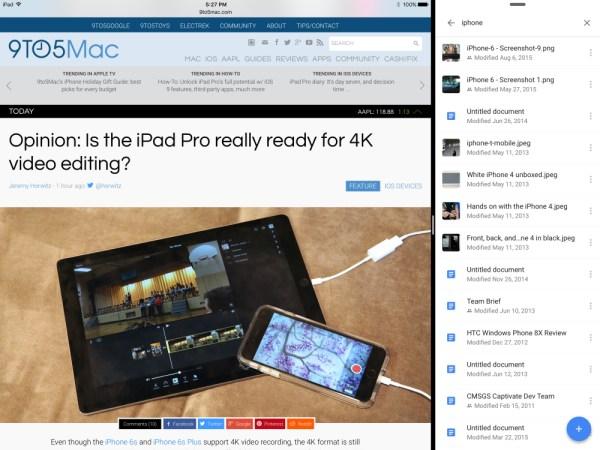 La versión 4.4 de Google Drive ofrece soporte para Split View y Slide Over en iPad