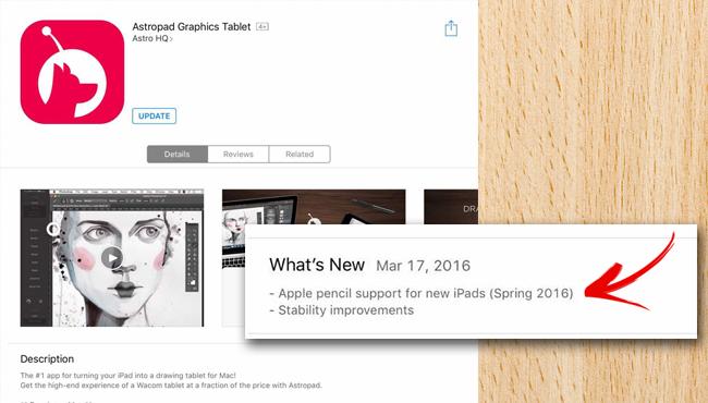iPad Pro de 9.7'': una app sugiere el soporte para Apple Pencil