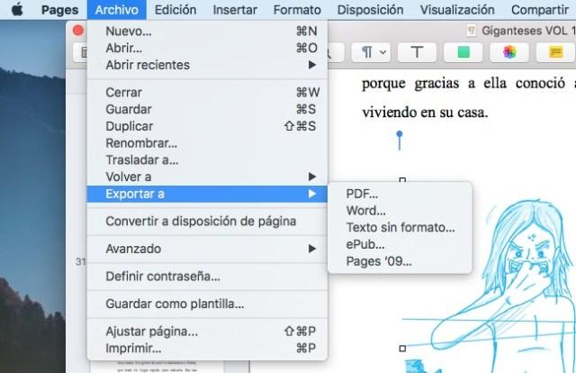 tutorial pages exportar mac os