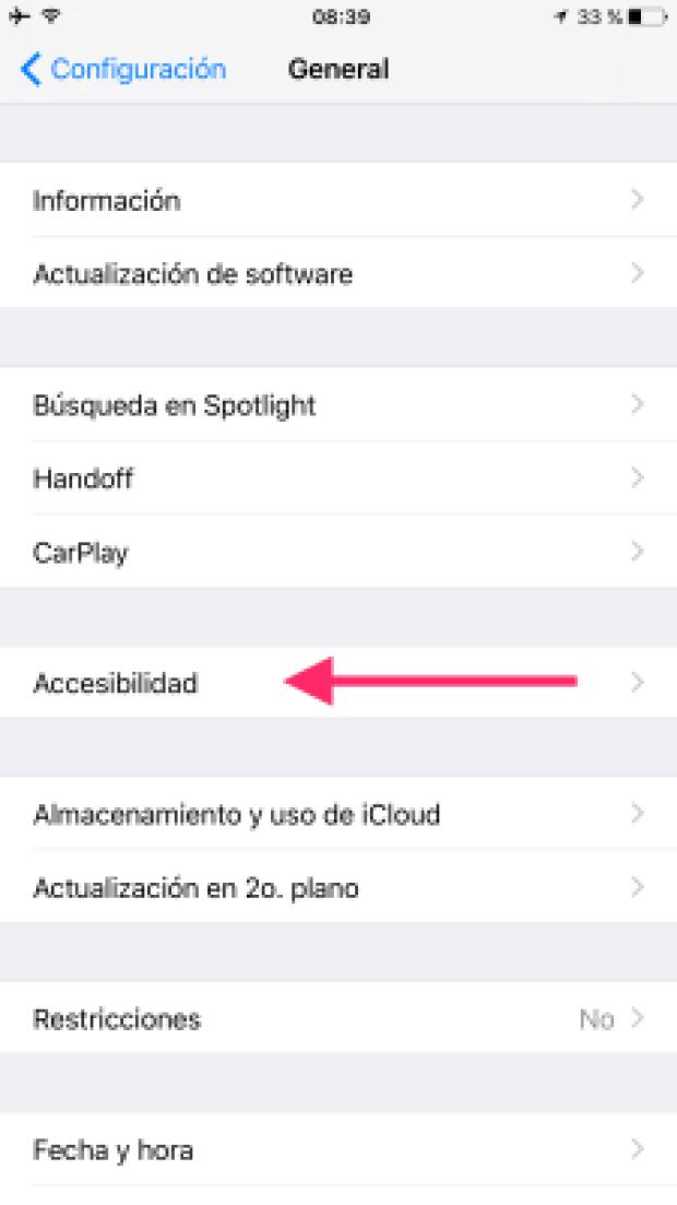 """2. Aperturamos """"Accesibilidad"""" de las opciones mostradas"""