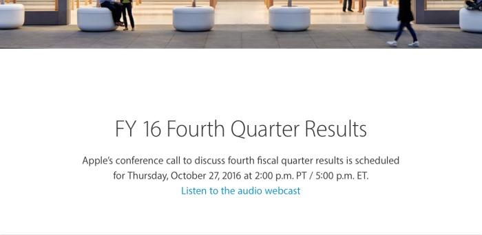 Apple presentará el 27 de Octubre sus resultados financieros del Q4