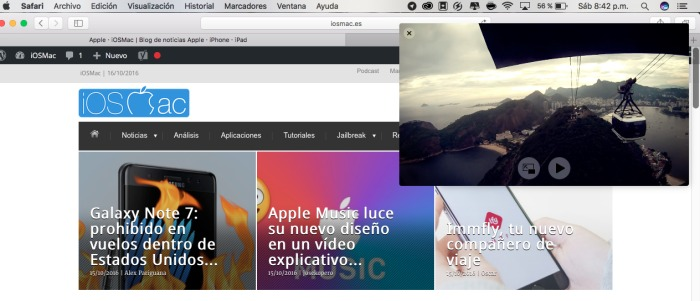 ¿Cómo usar el Picture in Picture en macOS Sierra?