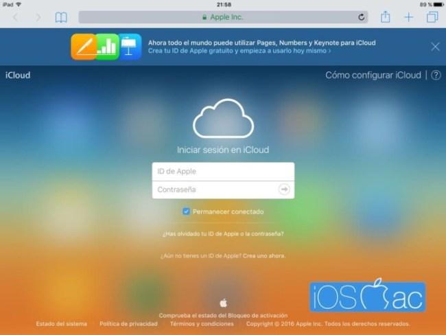 Inicio de sesión iCloud desde Safari