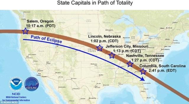 Trazado del eclipse en EE.UU