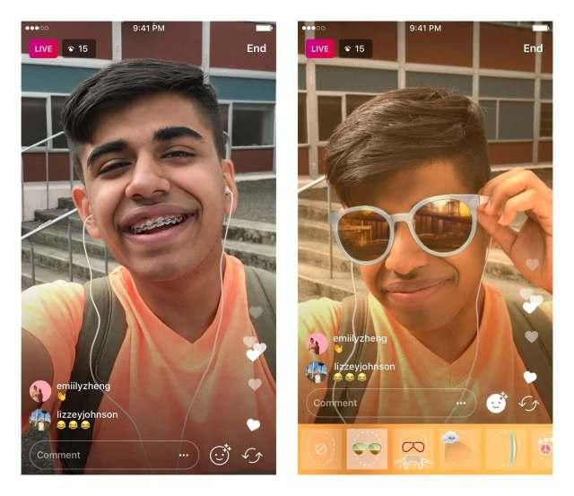 Máscaras en los vídeos en directo de Instagram