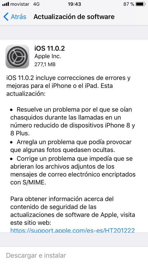 Actualización iOS 11.0.2