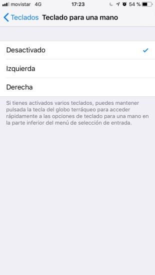 Teclado para una mano en iOS 11