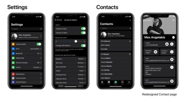 nuevo concepto modo oscuro iPhone X