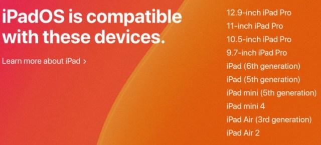 Compatibilidad iPadOS 13