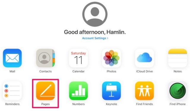 Página principal de iCloud