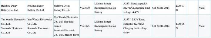 Capacidad de batería iPhone 12 A2471