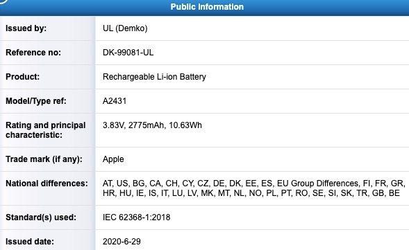 Batería del iPhone 12 Max y Pro A2431