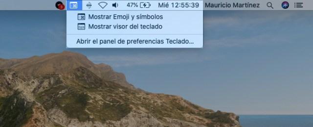Visor de pantalla y emojis macOS