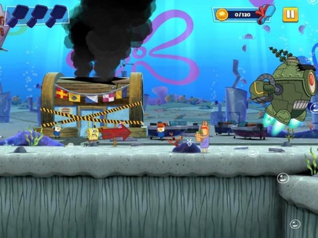 Nivel de Bob esponja persiguiendo a Plankton