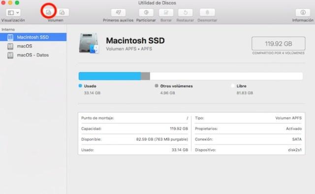 Instalar dos versiones diferentes de macOS - Agregar volumen