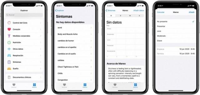 Sintomas App Salud iOS 13.6