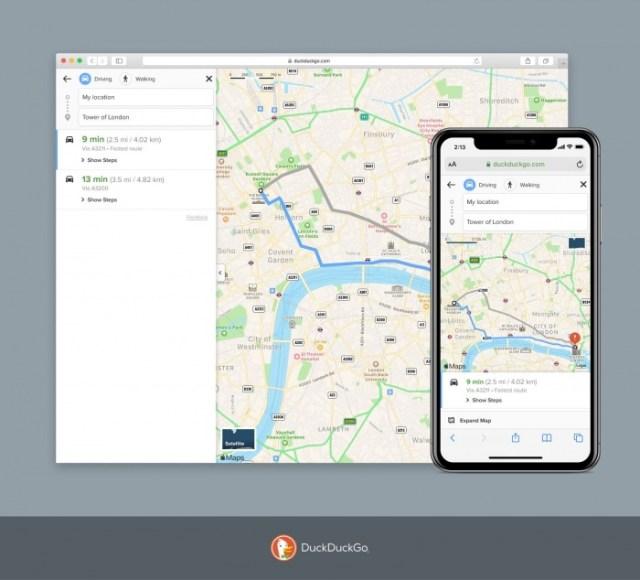 DuyckDuckGo se actualiza con su integración en Apple Maps