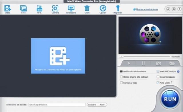 Interfaz MacX Video Converter Pro