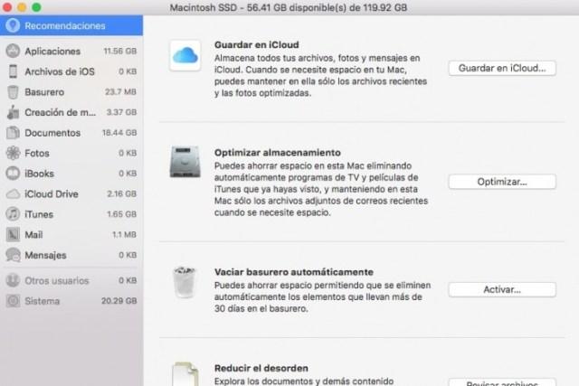 Administrar almacenamiento Mac