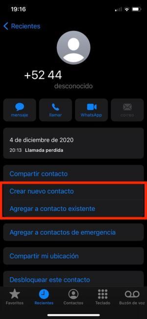 Agregar numero telefonico a un contacto