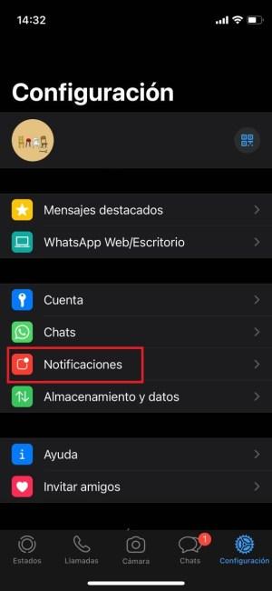 Ajustes de notificaciones en WhatsApp