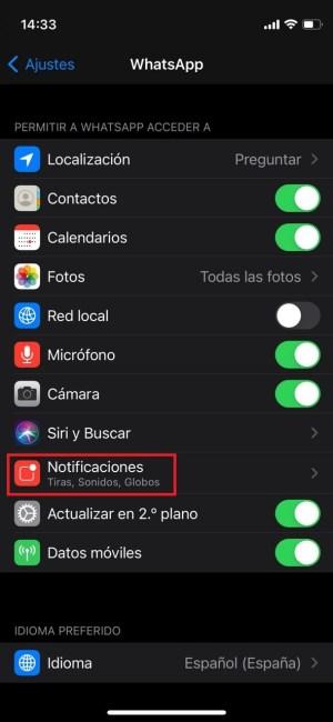 Ajustes de notificaciones en iOS 14