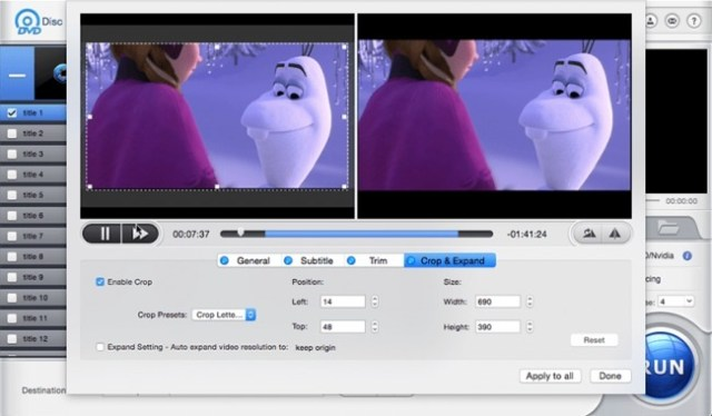 Cortar y expandir MacX DVD