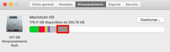 Espacio de almacenamiento Otro en Mac