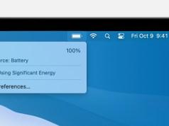 Menu de bateria macOS Big Sur