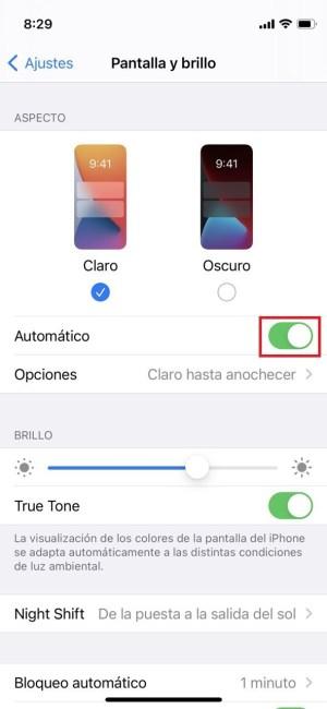 Modo oscuro automático en el iPhone