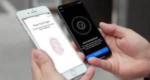 Dos iPhone con Touch ID y Face ID