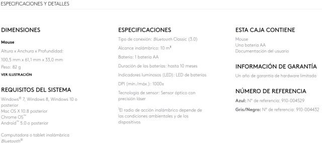 Especificaciones Logitech