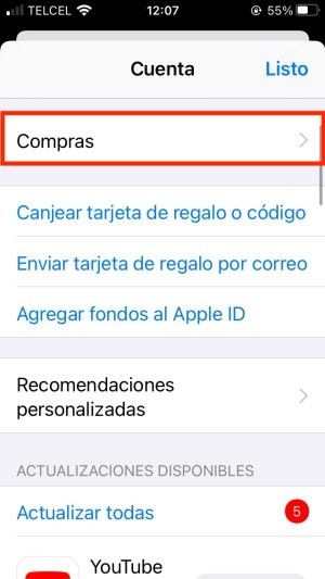 apps descargadas o compradas iPhone